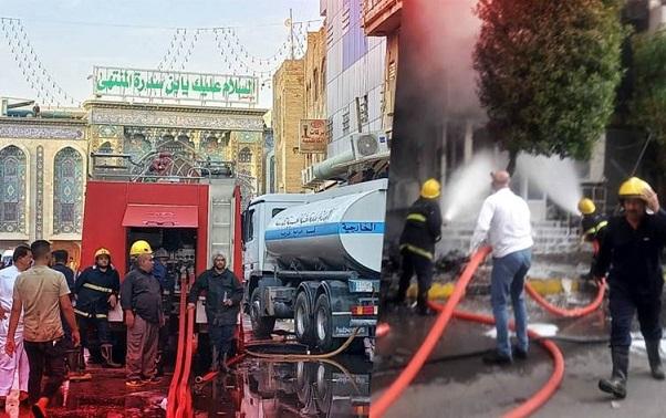 فرق الدفاع المدني تنقذ ٧٨ نزيلاً من حريق اندلع في فندق وسط كربلاء Harik.Hotel